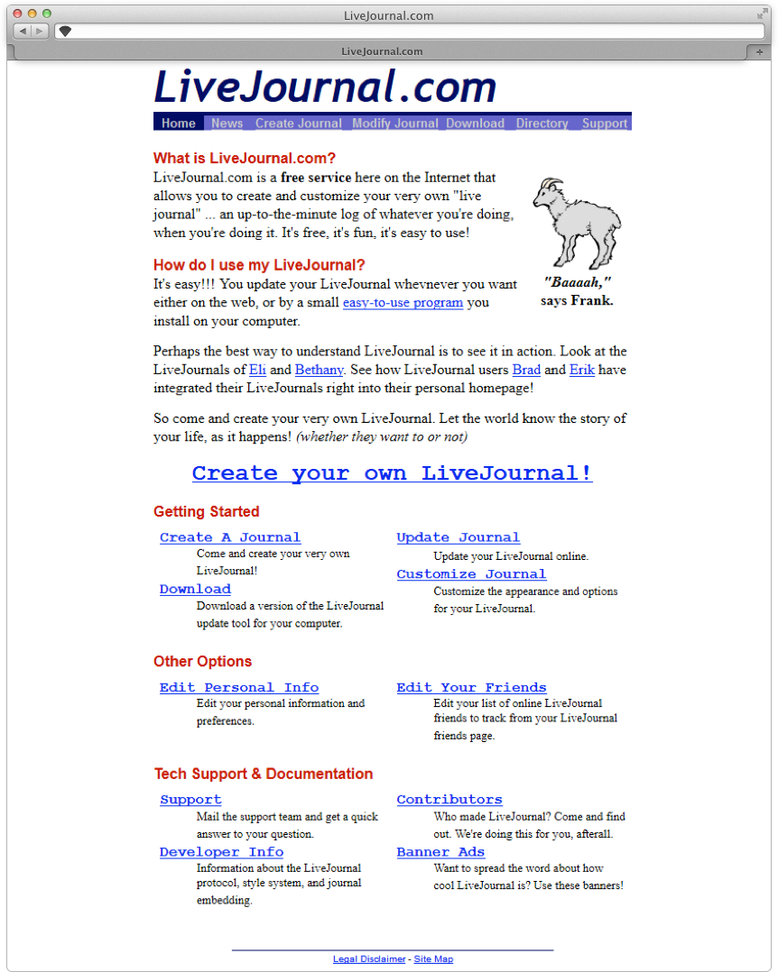 The first design of LiveJournal